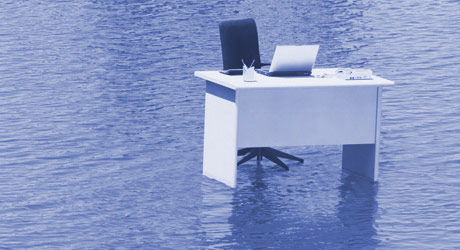 Disaster-recovery-desk-in-water
