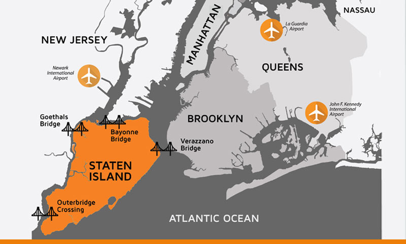 Staten Island Bridges map
