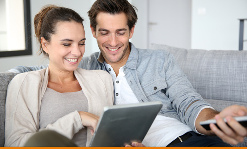 Couple viewing media on the Internet